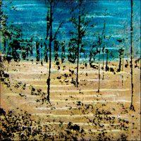 De la lumière - Aube pâle à Fontainebleau - Technique mixte - 50x50 cm