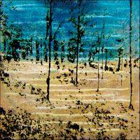 De la lumière Aube pâle à Fontainebleau - Technique mixte - 50x50 cm