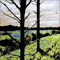 Deux arbres noirs à Marquenterre - Technique mixte - 30x30 cm