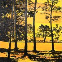 Arbres et lumière - Lausanne - 100 x 100 cm - Technique mixte sur toile