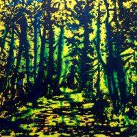 Illumination de juillet - Montreux - Technique mixte sur toile - 100 x 100 cm