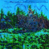 La forêt au bord du Rhin - Schaffhausen - Technique mixte sur toile - 100 x 100 cm