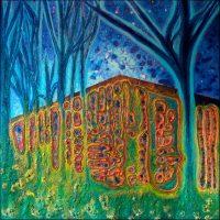 La maison dans les bois - Lucerne - Technique mixte sur toile - 100 x 100 cm