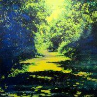 La voie verte - Technique mixte sur toile - 100 x 100 cm