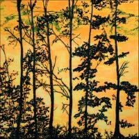 Paysage noir et jaune - Lucerne - Technique mixte sur toile - 100 x 100 cm
