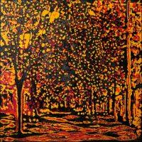 Taches de lumière - Forêt de Fontainebleau - Technique mixte sur toile - 100 x 100 cm