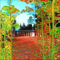 Série Jardins infinis - La terrasse - Montreux Photographie et peinture acrylique sur toile - 100 x 100 cm