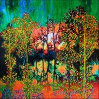 Série Jardins infinis - Les berges de la Seine Photographie et acrylique sur toile - 100 x 100 cm