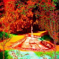 Série Jardins infinis - La fontaine à l'angelot - Montreux Photographie et peinture acrylique sur toile - 100 x 100 cm