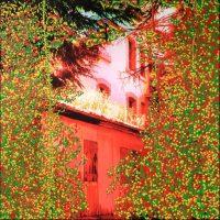 Série Jardins infinis - Montreux - La maison rouge Photographie et peinture acrylique sur toile - 100 x 100 cm