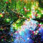 Série Jardins infinis - Le printemps sur les berge de l'Aar à Berne - Photographie et peinture - 100 x 70 cm